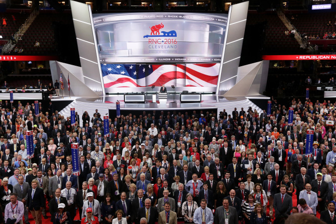 CLEVELAND, OH - JULY 18: Delegates pose for an official convention photograph on the first day of the Republican National Convention on July 18, 2016 at the Quicken Loans Arena in Cleveland, Ohio. (Photo by Alex Wong/Getty Images)